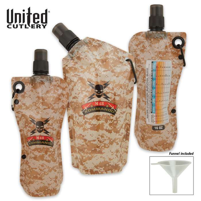 M48 Disposable Tailgating Flask Survival Canteen 3-Pack with Funnel