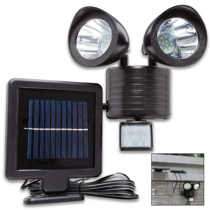 Night Watchman Outdoor Motion Security Light - 22 LEDS, Adjustable Sensitivity And Timing, Solar Powered Li-Ion Battery