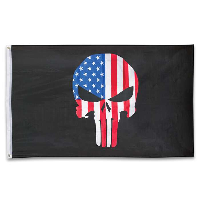 USA Punisher Flag - Polyester Construction, Dye Sublimated, Fade-Resistant, Hanging Grommets - Dimensions 3'x5'