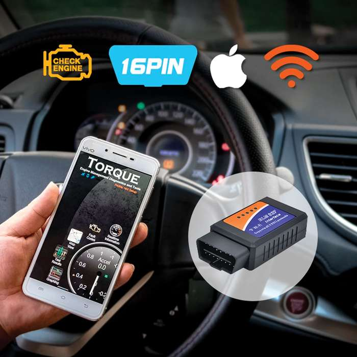 WiFi OBDII Scanner Car Diagnostic Tool - Reads Generic And Manufacturer Codes, Connects To Smartphones And Tablets