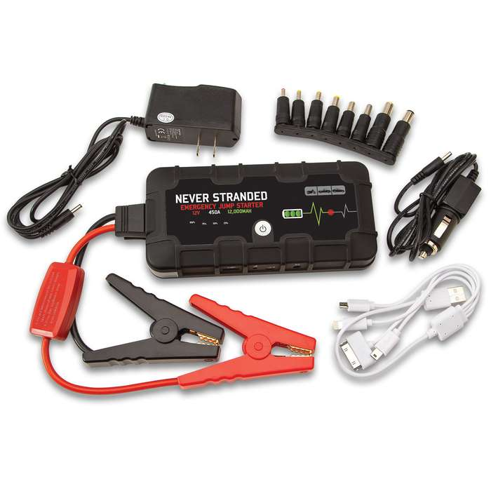 Never Stranded Emergency Jump Starter - 12,000 MAH Power Bank - Jumps Vehicles, Charges Electronics, LED Flashlight