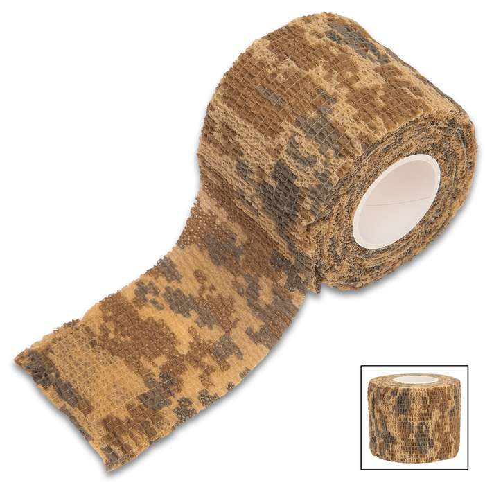 Our Flexible Self-Adhesive Desert Camo Wrap is self-clinging for the ultimate protection