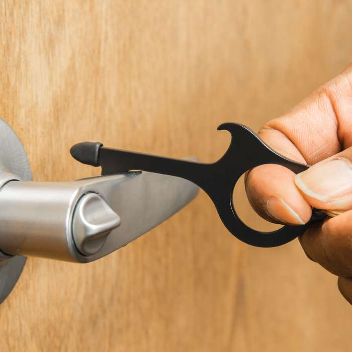 If you've ever used the tail of your shirt or elbow to try and open a public bathroom door, you need our Touch Free Key Chain!