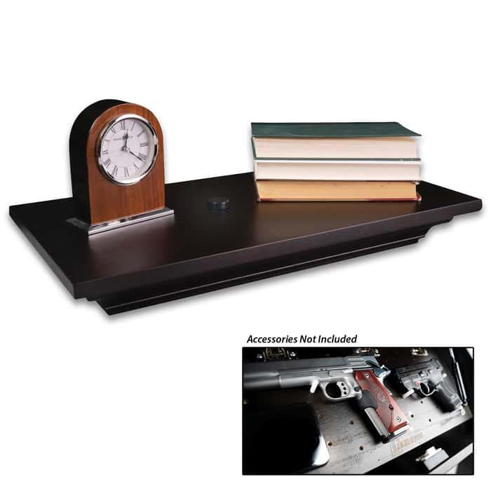 In-Plain-Sight Dark Walnut Shelf - Sturdy Wooden Construction, Secret Magnetic Latch, Built-In LED Light - 20 LB Max Rating