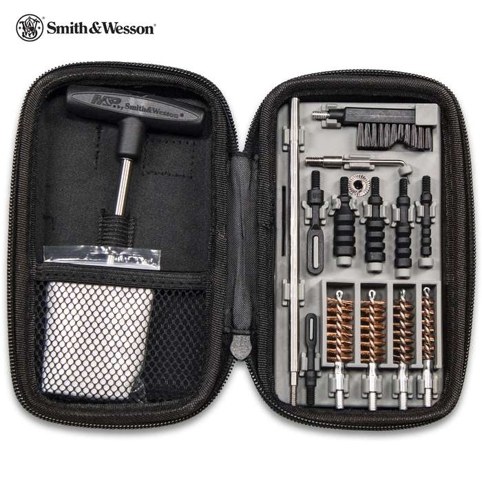 M&P Compact Pistol Cleaning Kit With Case - Everything Needed, Pocket Size, For Calibers .22 To .45