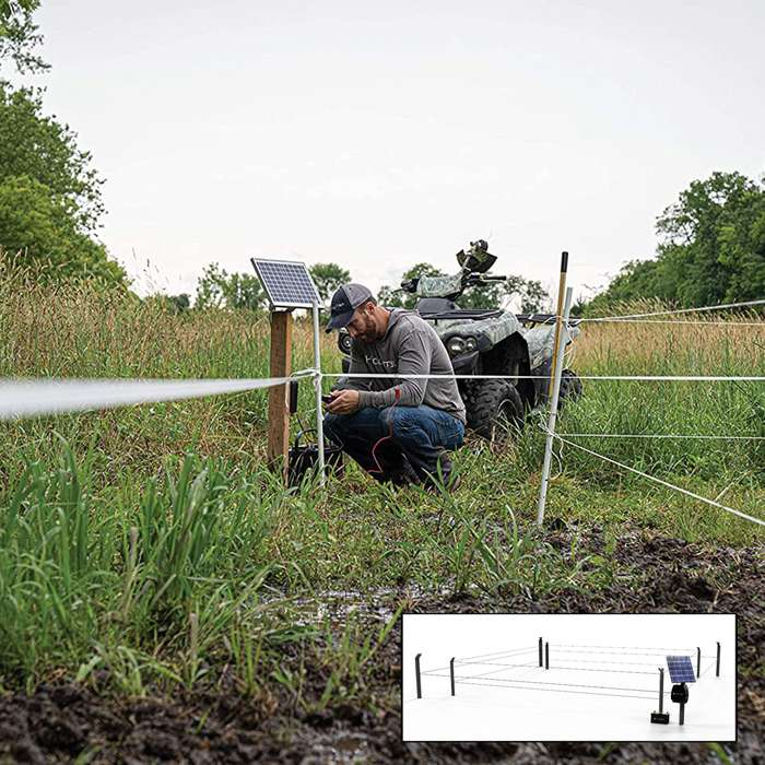 Hooyman Hot Zone Food Plot Protection Fence - Solar Powered Electric Fence, Up To 1/2 Acre Coverage, Dual Perimeter Set-Up