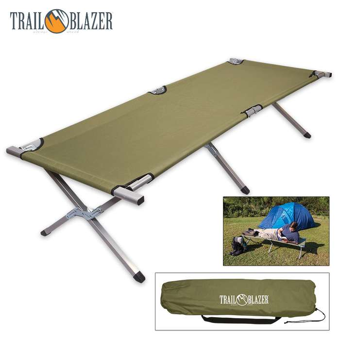 Trailblazer Heavy Duty Folding Steel Camping Cot With Carry Bag