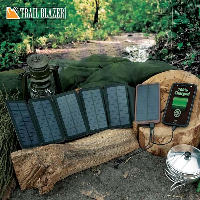 "12,000 MAH Folding Solar Charger And Power Bank - USB Ports, LED Lights, Six Panels, Indicator Lights - Dimensions 3 1/4""x 6"""