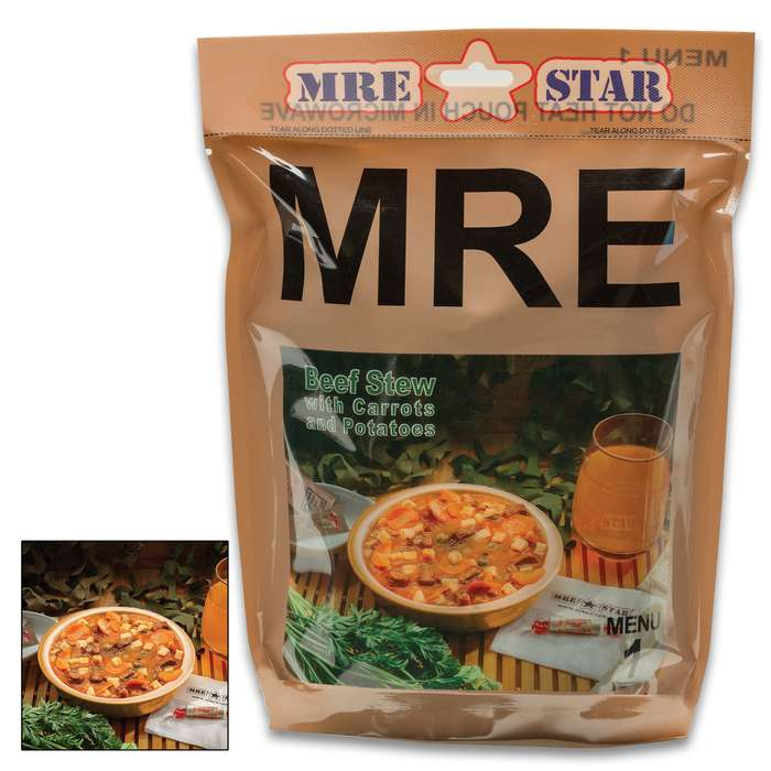 MRE Beef Stew With Vegetables Entrée - One Serving, Fully-Cooked, Added Vitamins And Minerals, Seven-Year Shelf-Life