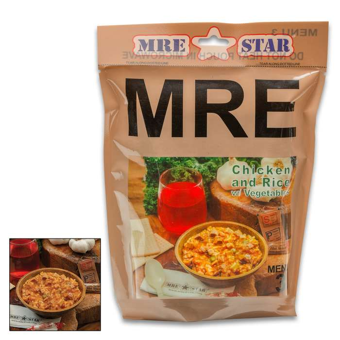 MRE Chicken And Rice With Vegetables Entrée - One Serving, Fully-Cooked, Added Vitamins And Minerals, Seven-Year Shelf-Life