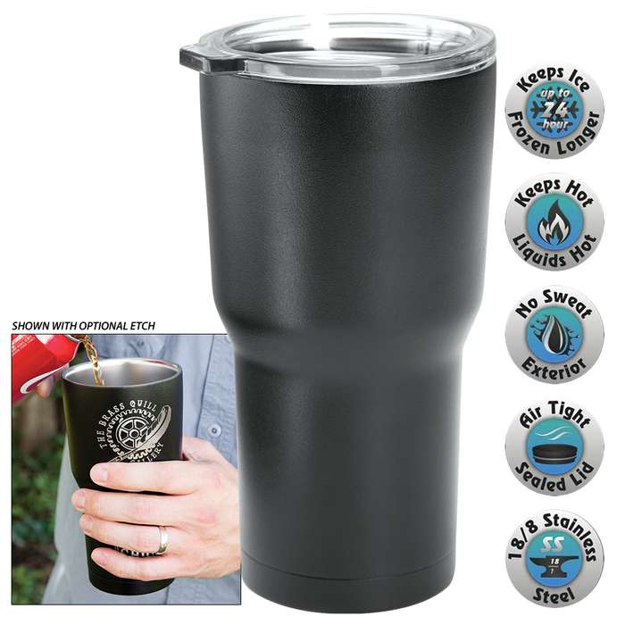 Large Double Walled Insulated Tumbler - Matte Black