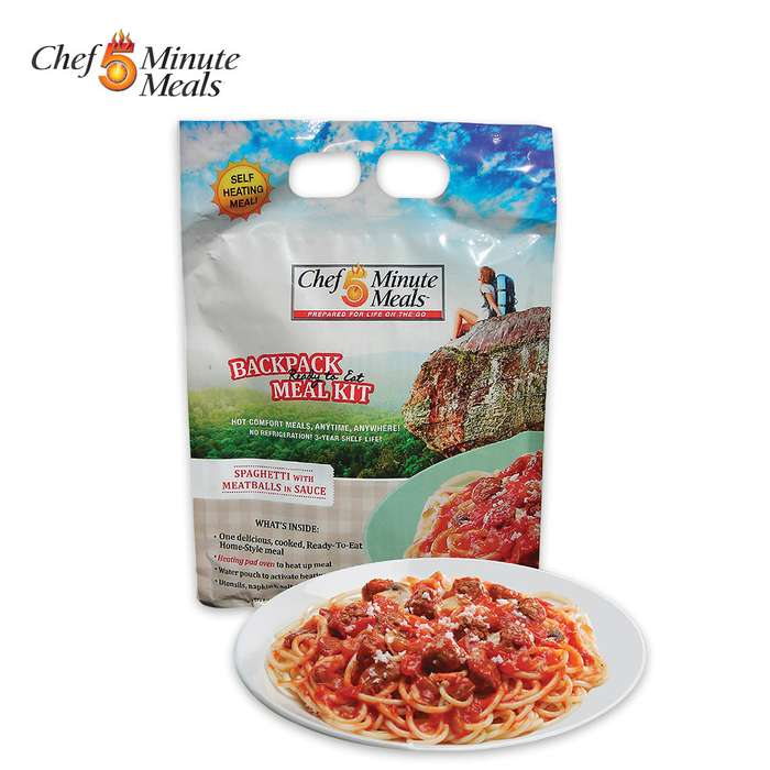 Self-Heating 5-Minute Backpack Meal Kit - Spaghetti With Meatballs