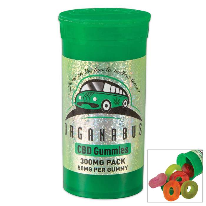 Organabus CBD Edible Gummies - Six-Pack, Delicious Assorted Flavors, 300mg CBD Total, Chewy Relaxing Candy