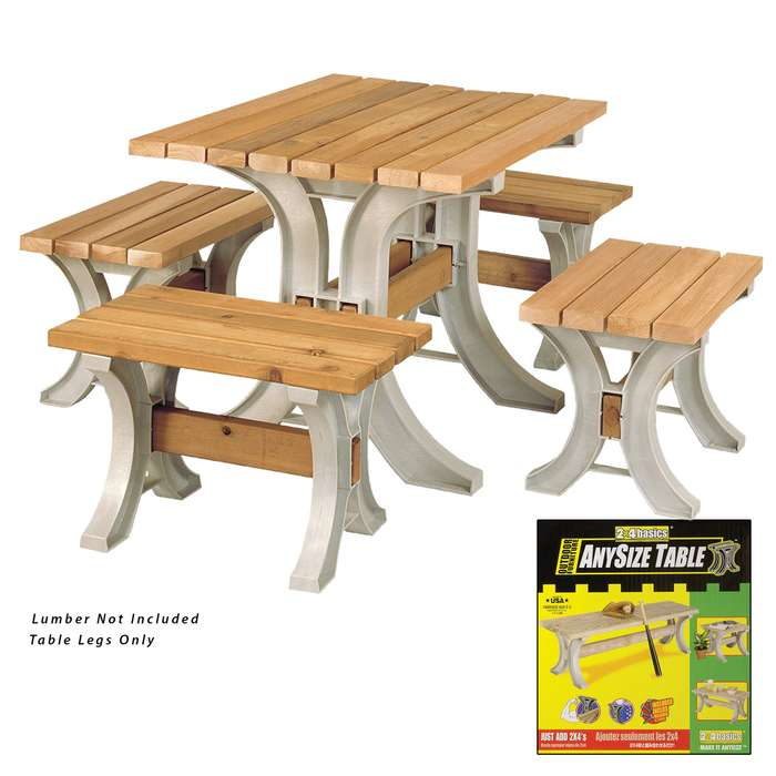 "2 x 4 Basics Patio Table Kit - Includes All Hardware, Instructions; Just add Lumber - Screwdriver, Saw Only Tools Required - Only Straight Cuts - Customize Length up to 8' - 29"" Tall x 30"" Wide"