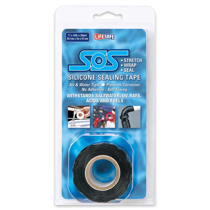 Black SOS Silicone Stretch And Wrap Tape - 1X10