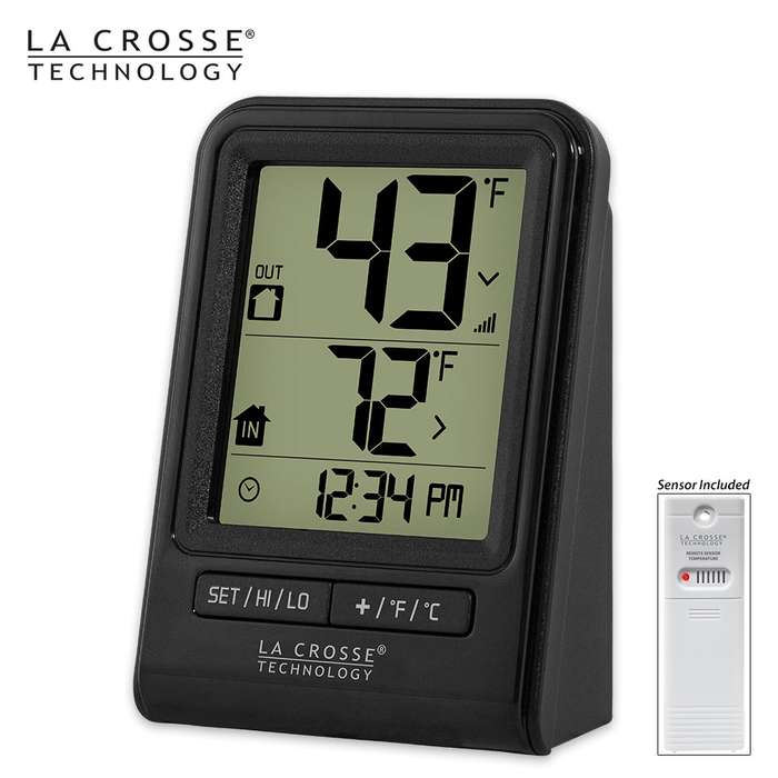 La Crosse Technology Wireless Indoor/Outdoor Thermometer - Black