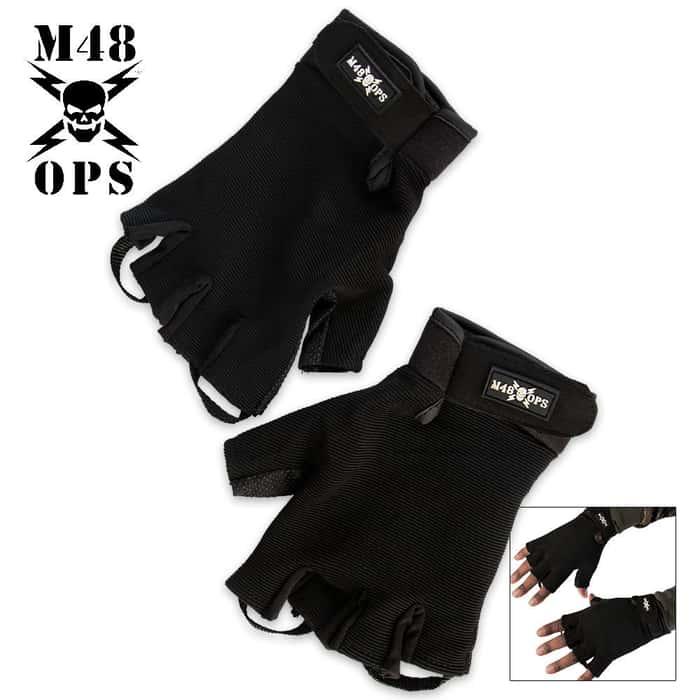 M48 Half Finger Gloves Black