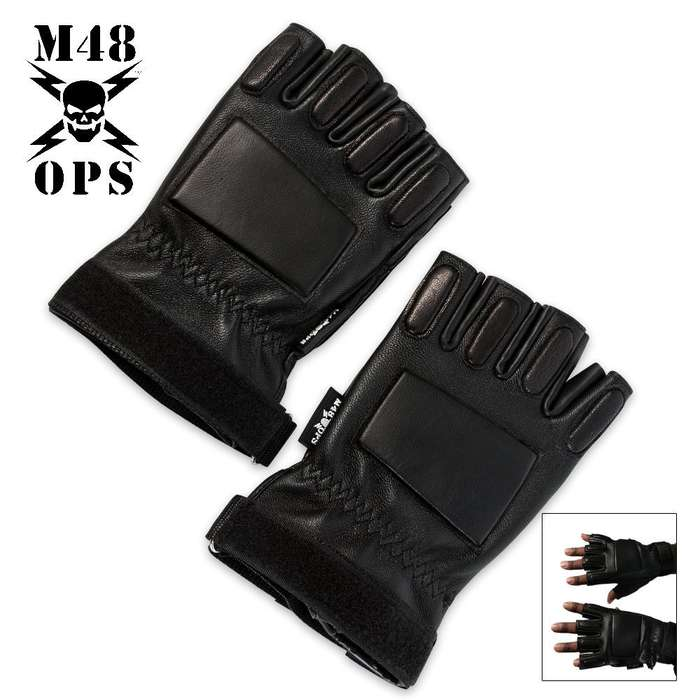 M48 Military Half Finger Gloves Black