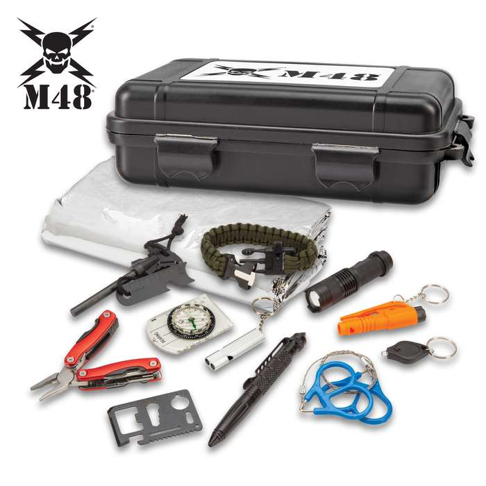"M48 Deluxe Hard Case Survival Tool Box - All-Inclusive Survival Necessities, ABS Case, Snap-Locks, Dimensions 7 1/2""x 4 1/2"""