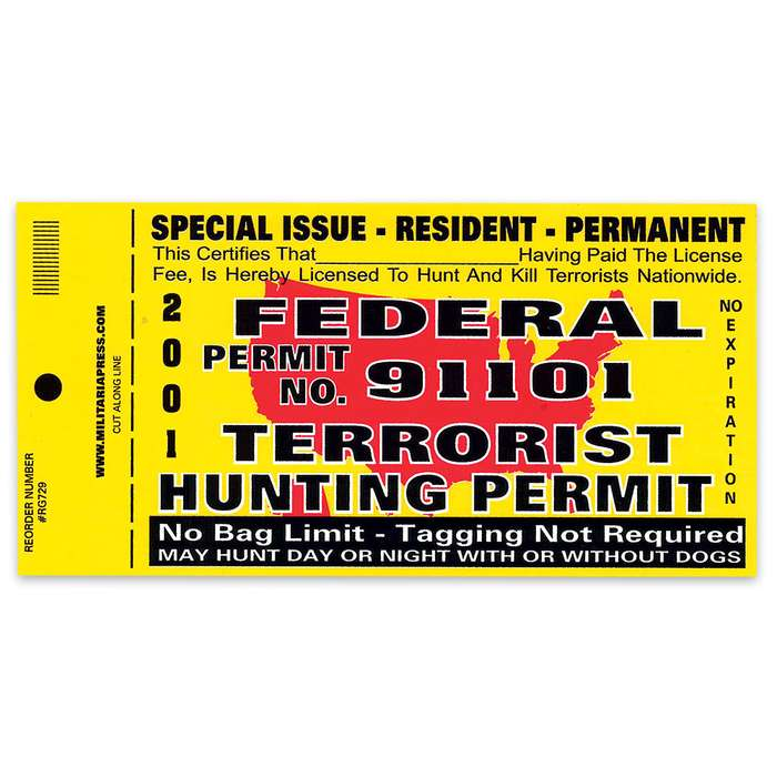 Federal Terrorist Hunting Permit Bumper Sticker