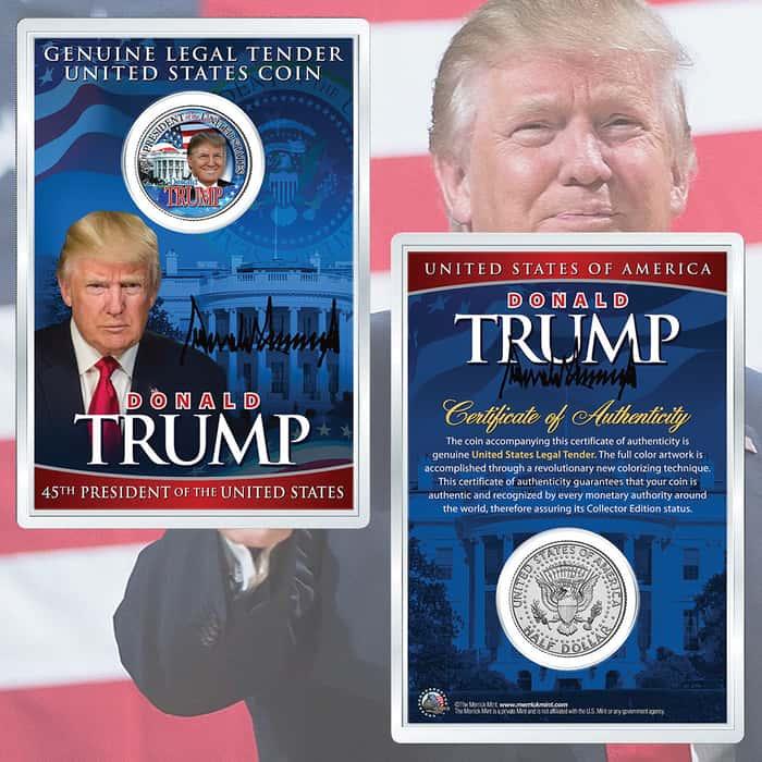 Donald Trump 45th President of the US Colorized JFK Half Dollar in Acrylic Capsule - Merrick Mint