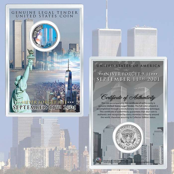 "9/11 ""Never Forget"" World Trade Center Colorized 2001 JFK Half Dollar in 4"" x 6"" Acrylic Display"