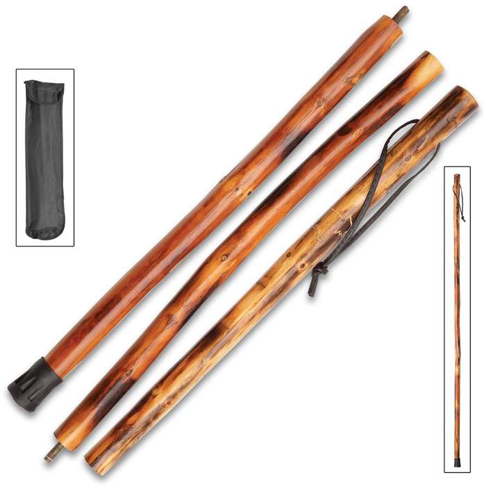 """Bear Collapsible Wooden Hiking Cane With Nylon Pouch - Natural Wood, High-Gloss Finish, Leather Wrist Strap - Length 55"""""""