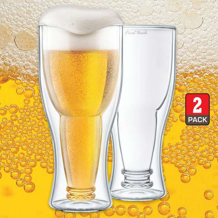 Bottoms Up Double-Wall Beer Glass - Set Of Two