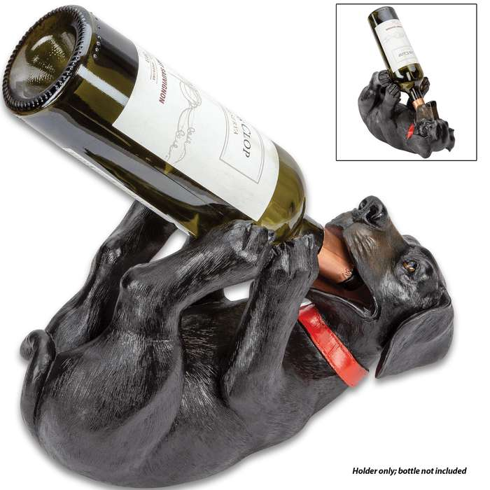 "Black Lab Wine Bottle Holder - Hand Painted Polyresin, Intricate Details, Holds Standard 750ML Bottle - Dimensions 9 1/2""x 6 3/4"""
