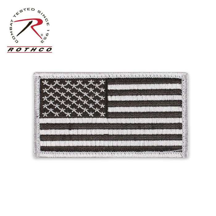 Flag Patch with Hook & Loop Silver/Black