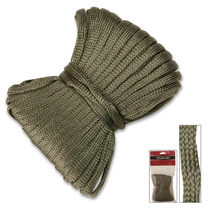 50 FT Olive Drab Nylon Braided Utility Cord