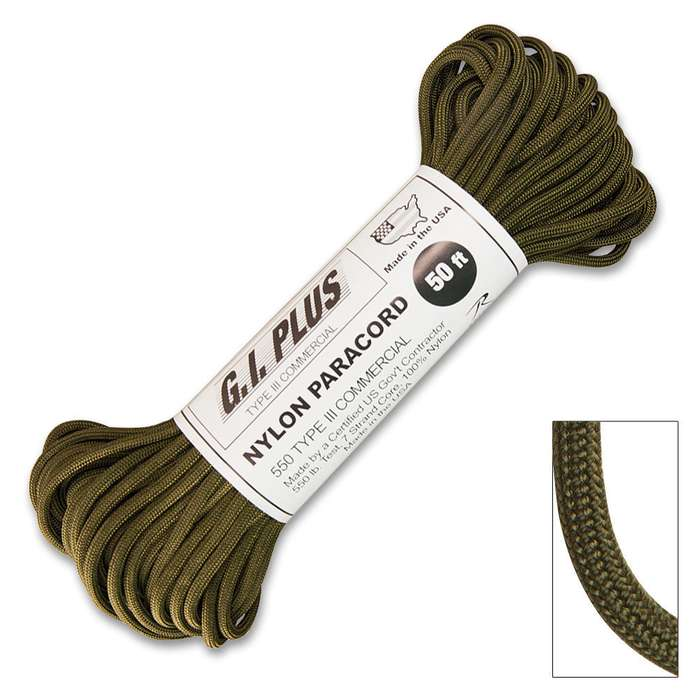 """50-ft. 550 lb Type III Commercial Paracord, Olive Drab"""