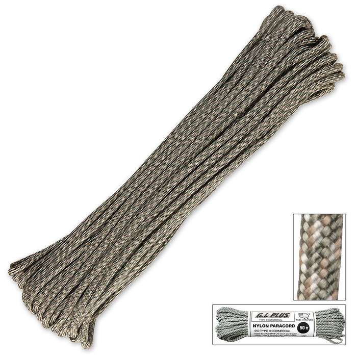 550lb Type III Commercial Paracord Army Digital Camo 50 Feet