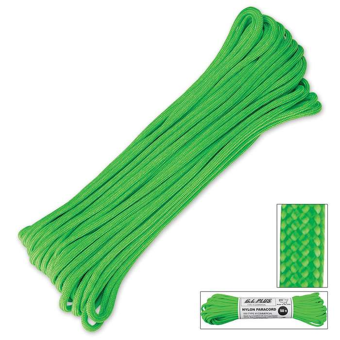 550lb Type III Commercial Paracord Safety Green