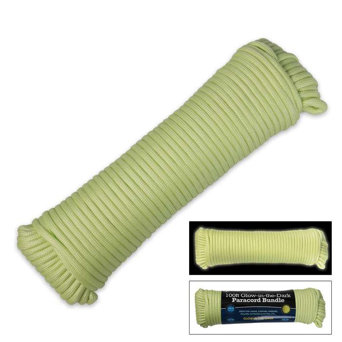 560-lb Seven-Strand Glow-in-the-Dark Paracord - 100' bundle