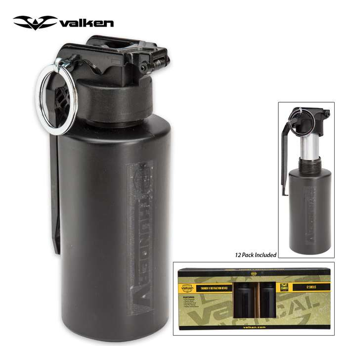 Valken Tactical Thunder 130-dB Sound Grenades - 12-Pack Cylinder B Shells w/ Core