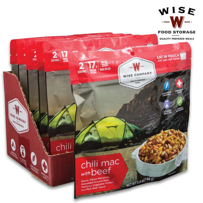 Wise Chili Mac With Beef - Two Servings, 18 Grams Protein, Seven-Year Shelf-Life, 3,960 Calories, Made In USA