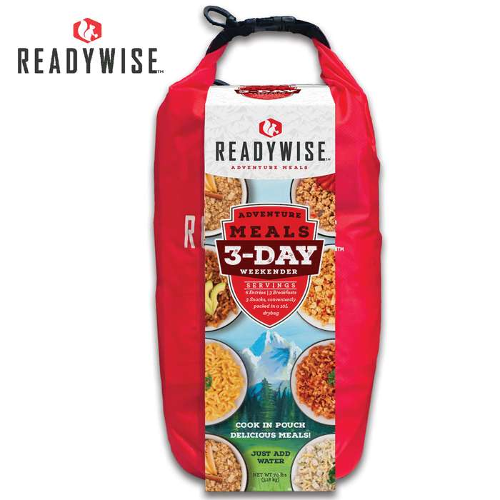 ReadyWise Three-Day Weekender Kit With Dry Bag - Six Entrees, Three Breakfasts, Three Snacks, Add Water, Ready In Minutes