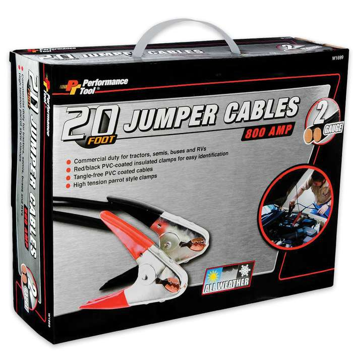 Battery Jumper Cables - 20' Two-Gauge