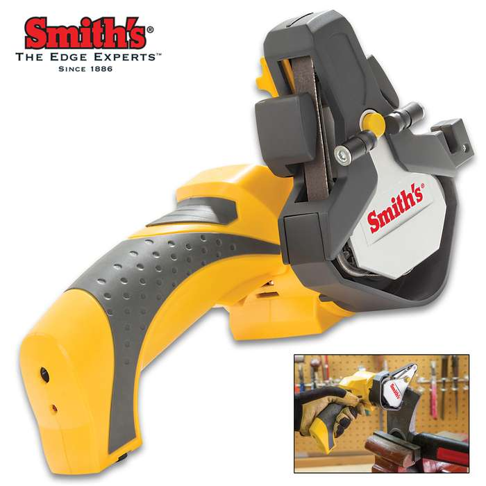 Smith's Cordless Knife And Tool Sharpener - Adjustable Angle Guides, Ceramic Deburr, Rechargeable Batteries, Three Belts