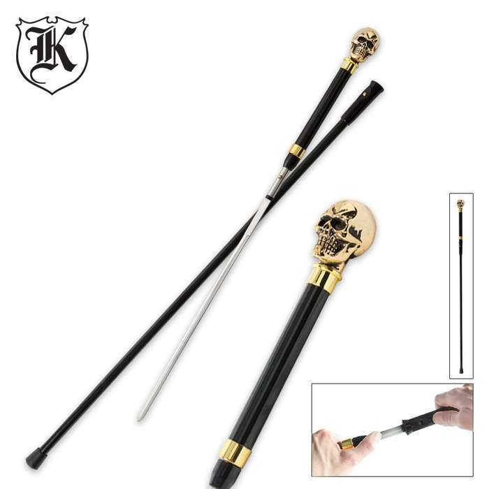 Brass Skull Walking Sword Cane
