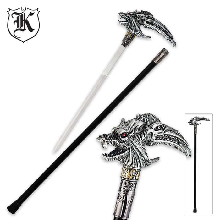Silver Dragon Fantasy Sword Cane