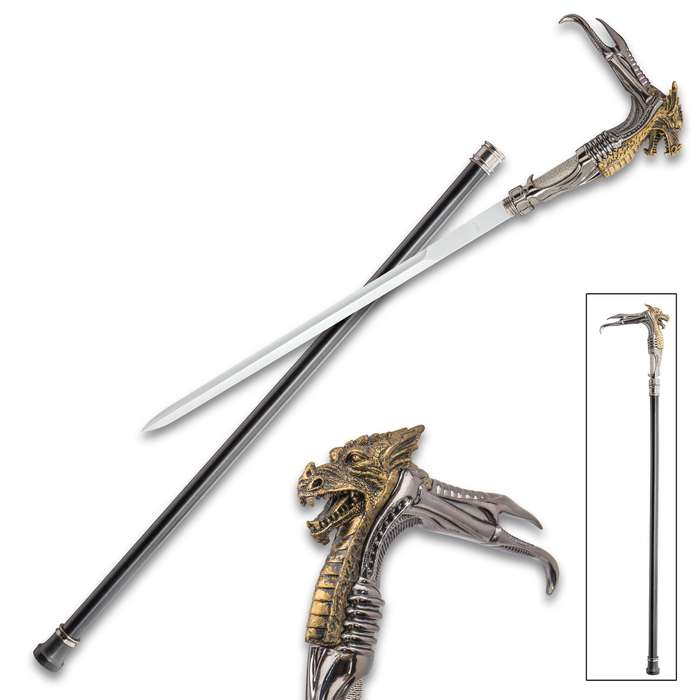 Dragon Head Fantasy Sword Cane - Stainless Steel Blade, Sculpted Resin And Metal Handle, No-Slip Toe, Aluminum Shaft - Length 36 3/4""