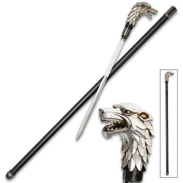 """Antique Wolf Head Sword Cane - Stainless Steel Blade, Cold Cast Resin Handle, Aluminum Shaft, Rubber Toe - Length 36 1/4"""""""