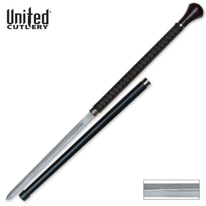 United Cutlery Ikazuchi Forged Ball Tip Sword Cane Damascus