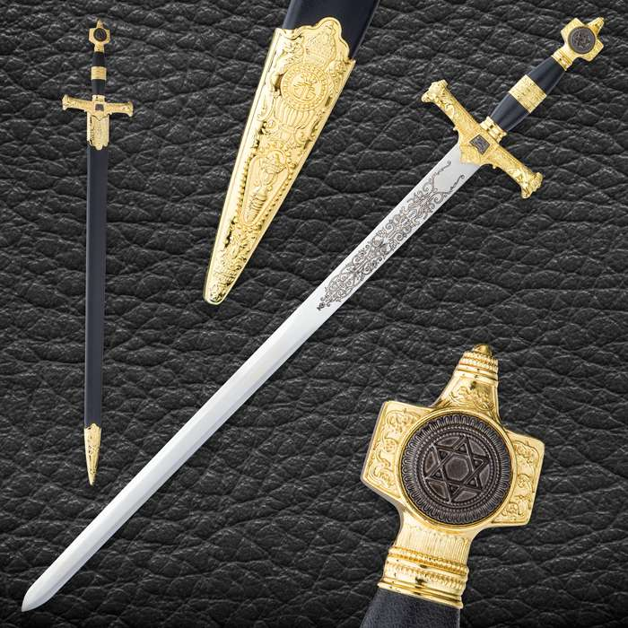 Star Of David Sword And Scabbard - Stainless Steel Blade, ABS And Metal Handle, Intricately Designed Guard And Pommel - Length 30""