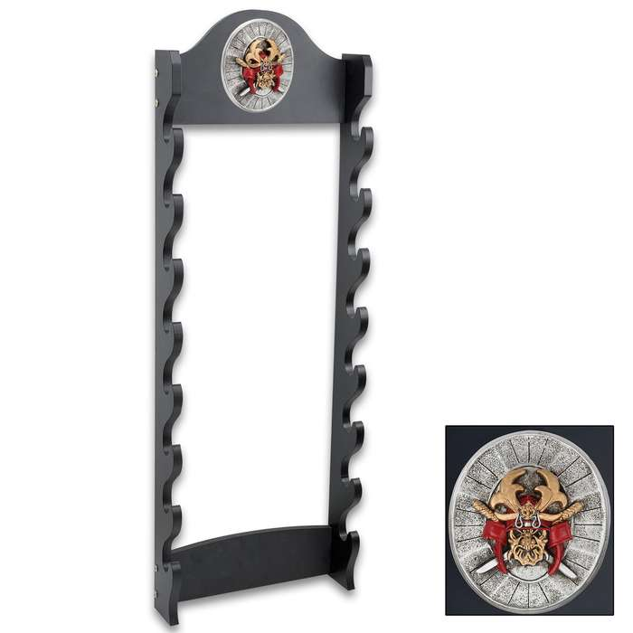 """Sword Stand With Medallion - Displays 8 Swords - Sturdy Wooden Construction; Attractive Black Lacquered Finish; Decorative Medallion - 13""""x39"""""""