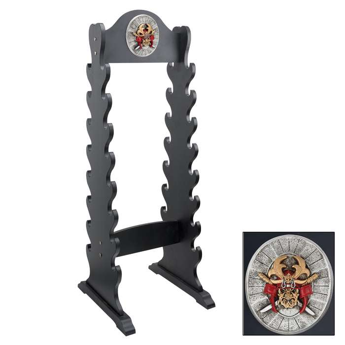 """Sword Stand With Medallion - Displays 16 Swords - Sturdy Wooden Construction; Attractive Black Lacquered Finish; Decorative Medallion - 13""""x42"""""""