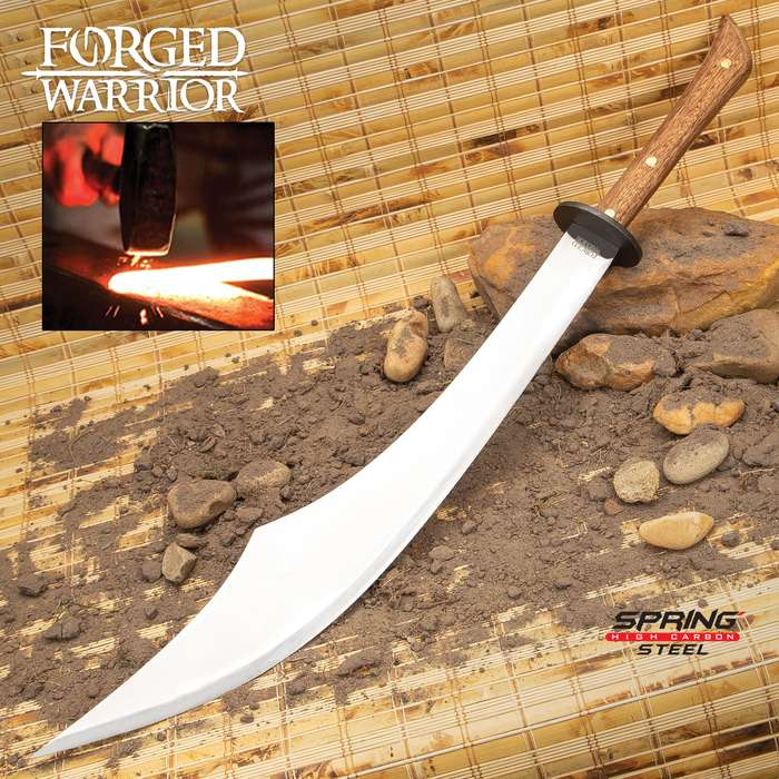 Forged Warrior Scimitar Sword With Sheath - Spring Steel Blade, Hardwood Handle, Brass Studs, Metal Handguard - Length 31""