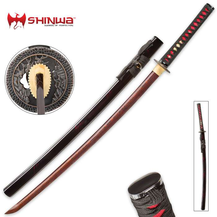 Shinwa Incendiary Handmade Katana Samurai Sword - Exclusive Hand Forged Red And Black Damascus Steel - Genuine Ray Skin - Ornate Tsuba / Guard Design - Fully Functional, Battle Ready